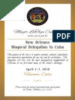 CNO Mayoral Delegation to Cuba Invitation