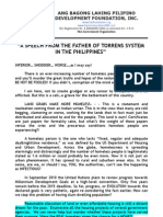 Speech From the Father of Torrens System in the Philippines