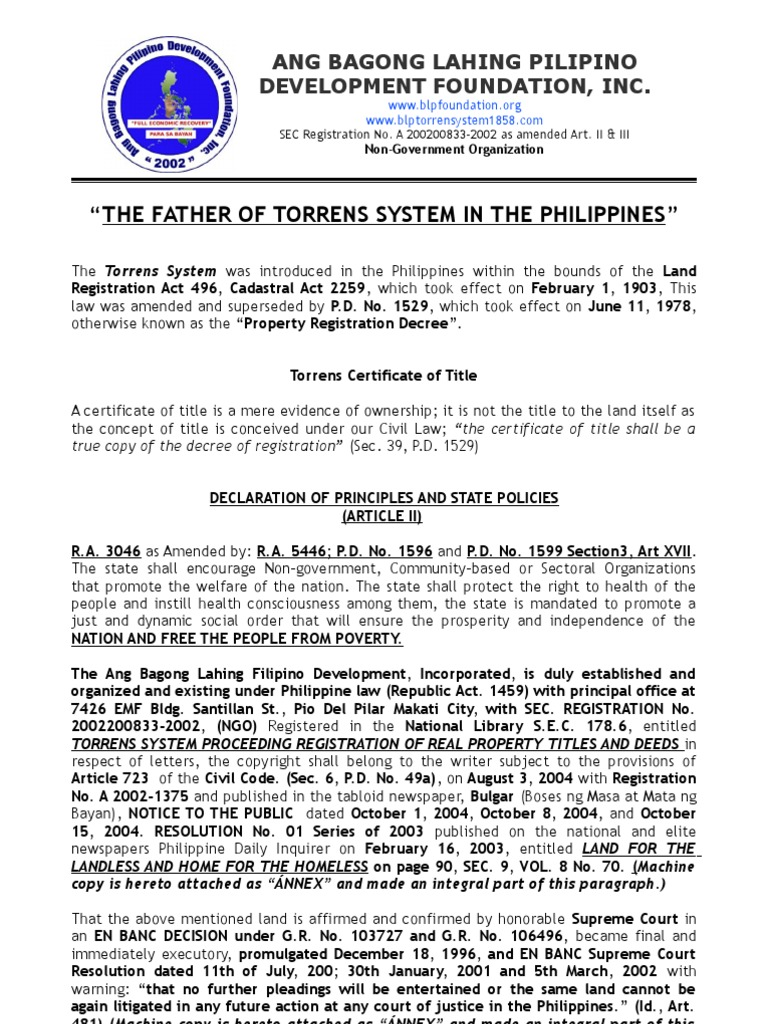 The Father Of Torrens System In The Philippines Title Property