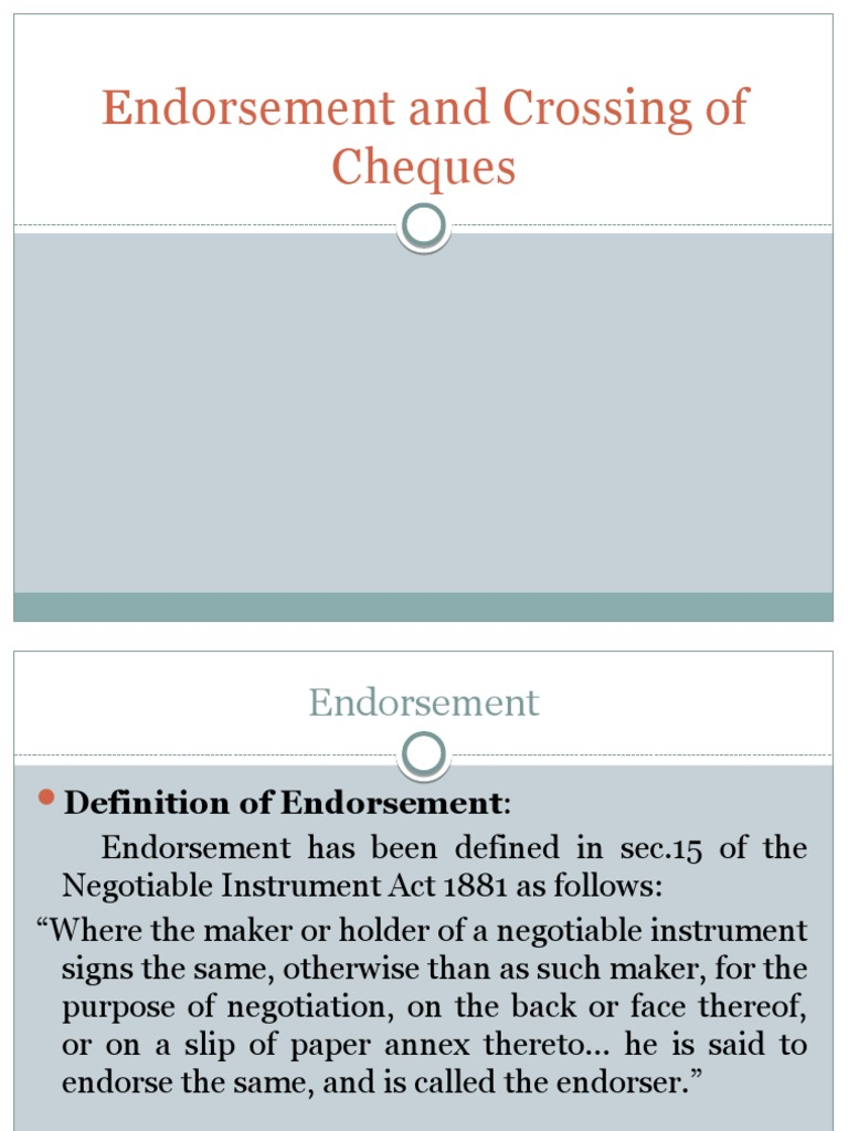 endorsement of cheque definition