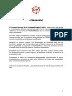 Comunicado Posicion Del Conep Ante Ataque a Miembros de Fedecamaras 28-10-2010