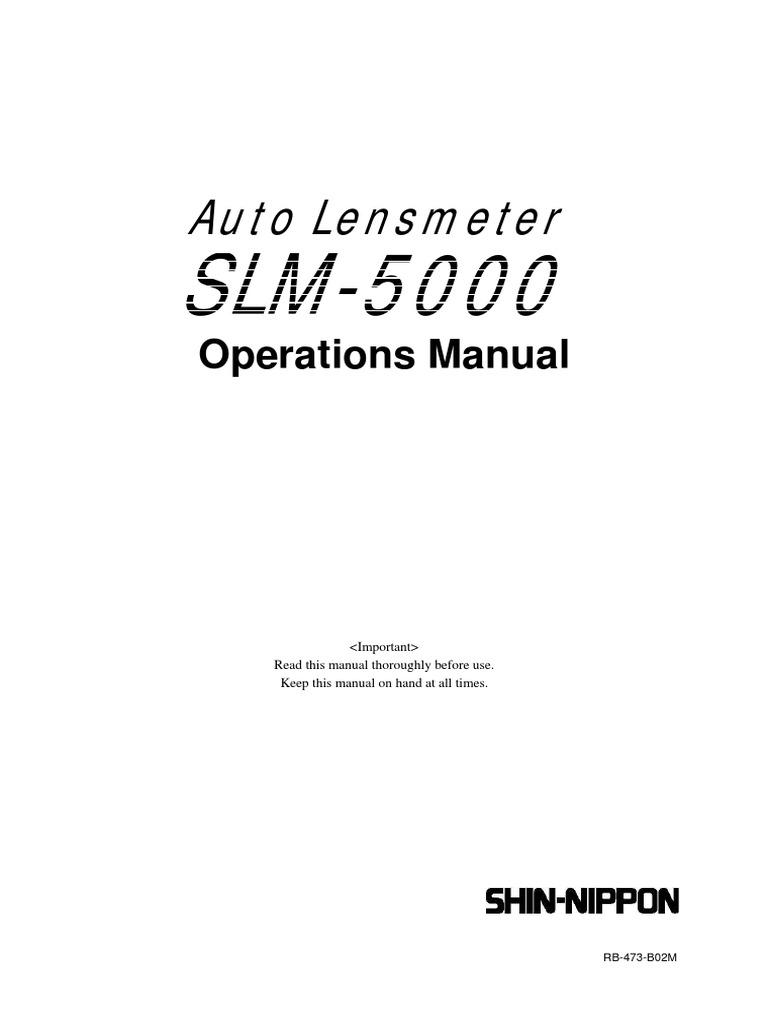 SHIN-NIPPON User manual pdf | Equipment | Optics