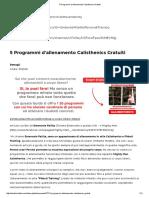 5 Programmi d'Allenamento Calisthenics Gratuiti