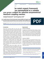Basic Isoreticular Metal Organic Framework Irmof 3 Porous Nanomaterial as a Suitable and Green Catalyst for Selective Unsymmetrical Hantzsch Coupling Reaction