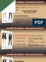 Informations Pratiques Live NBS 2019 Québec