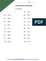 Percents Decimals Worksheet (1)