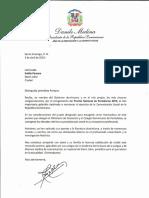 Carta de felicitación del presidente Danilo Medina a Emilia Pereyra, ganadora del Premio Nacional de Periodismo 2019