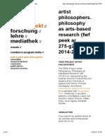 PEEK-Project Artist Philosophers | Arno Böhler