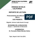 Financiamiento de La Educacion en Mexico - Reporte de Lectura 2 - Johanna Ivette Suarez Carvajal