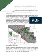 Variaciones Geoquímicas y Ocurrencias Metálicas de Las