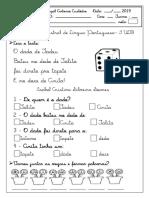 Avaliação de Língua Portuguesa 1º Ano -2019