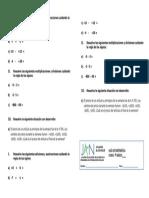 Adicion Sustracción División y Multiplicación en Conjunto Z