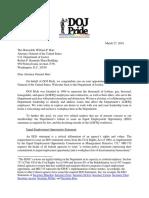 DOJ Pride Letter to AG Barr About Discrimination