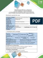 Guía de Actividades y Rúbrica de Evaluación Paso 6. Diseño de Proyecto Final de Empresa Porcícola