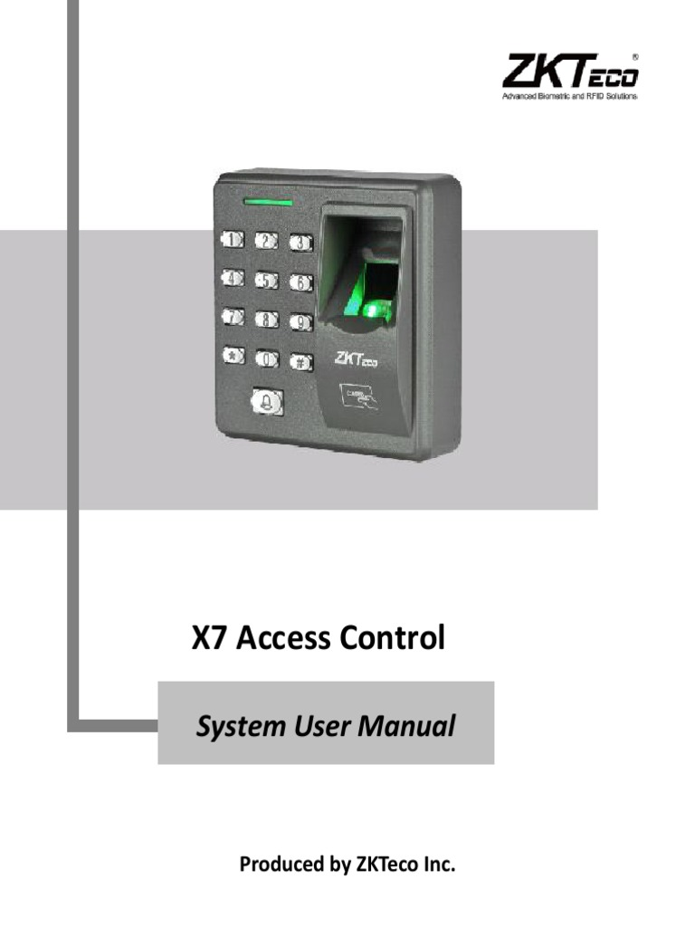 X7 User Manual | Authentication | Access Control