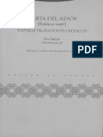 Abu Bakr Ibn Yahya Ibn Al Sa Ig Ibn Bayya Avempace Edicion y Traduccion de Joaquin Lomba 2006 TROTTA PDF