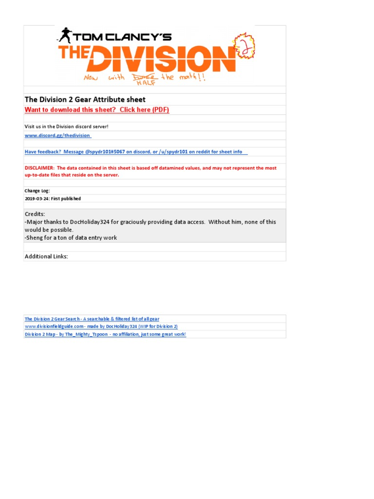 The Division 2 Gear Attribute Sheet (1) pdf | Backpack | Sniper