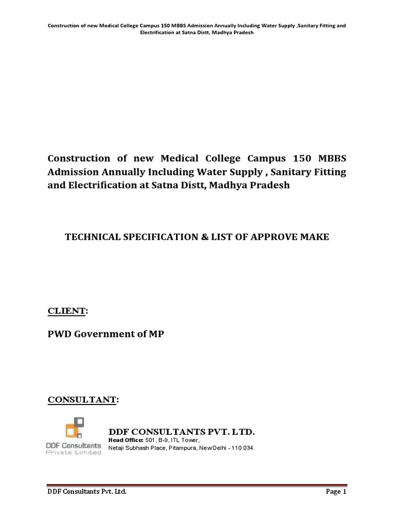 Construction of 150 bedded Hospital-TechnicalSpecs pdf | Duct (Flow