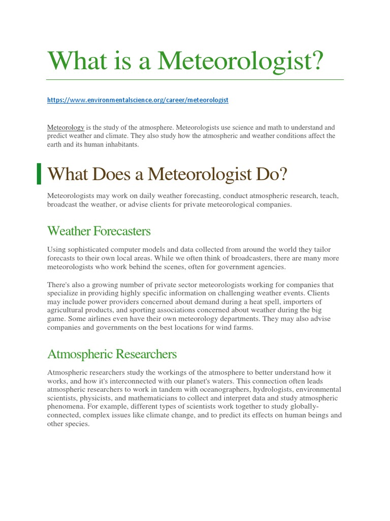 What Is A Meteorologist Meteorology Weather