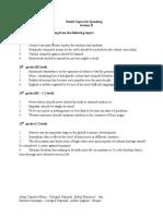 Model Topics for Speaking Section B