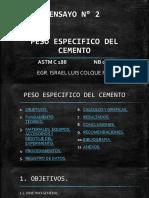 ENSAYO N° 2 - PESO ESPECIFICO DEL CEMENTO