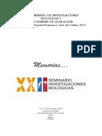 Memorias XXII Seminario de Investigaciones Biológicas 2017