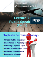Lecture 2 - Public Speaking Part 1
