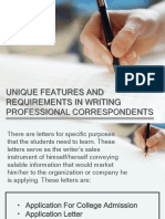 Unique Features and Requirements in Writing Professional Correspondents