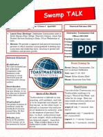 Swamp Talk, Okefenokee Toastmasters Club newsletter, April 2019