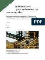 Perú con déficit de 4 plantas para refinación de los minerales.docx