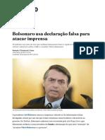 Bolsonaro Usa Declaração Falsa Para Atacar Imprensa - Estadão