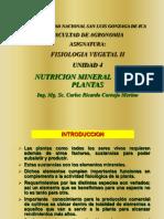 Fisio. Veg. II - Unidad 4 - Nutrición Mineral 2018