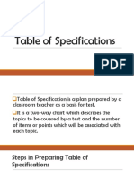 Table of Specifications