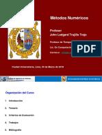 1.1. Presentacion Métodos Numéricos 2019 I