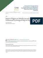Impact of Stigma on Attitudes Towards Seeking Professional Psychology