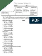 Patient Presentation Eval Form