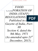 FCI (STAFF) REGULATIONS, 1971, Dated the 8th May, 1971 (as Amended Upto 21st December, 2015)