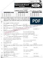 Past Papers 2016 Gujranwala Board 9th Class Physics Group 1 English Medium Objective