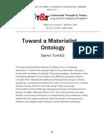 Toward A Materialist Ontology