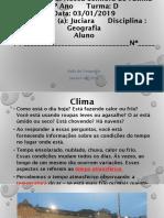 Aula de Geografia Janeiro 2019