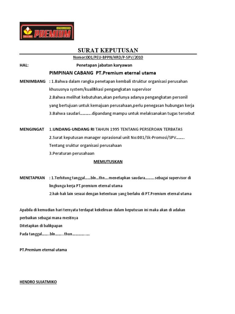 surat keputusan promosi