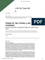 Felipe III, Las Cortes y Las Ciudades