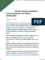 Seis Em Cada Dez Crianças Brasileiras Vivem Na Pobreza, Diz Unicef - CartaCapital