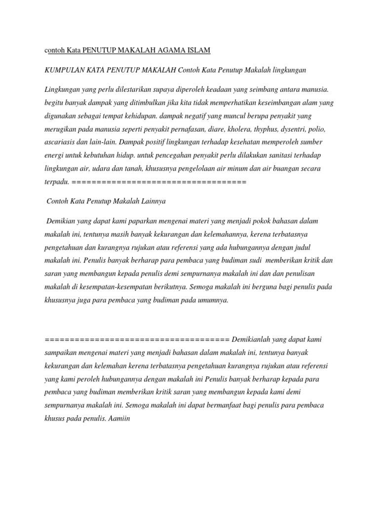 Contoh Kata Penutup Makalah Agama Islam Docx