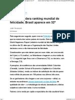 Finlândia Lidera Ranking Mundial de Felicidade; Brasil Aparece Em 32º