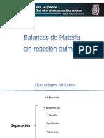 balance de materia y energia sin reaccion quimica