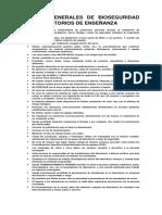 Normas Generales de Bioseguridad en Laboratorios de Enseñanza y Área de Morfología