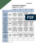 PA1 Rubrica Evaluación Proyecto Personal de Aprendizaje