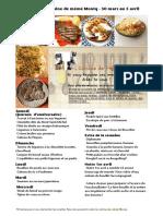 Menu de La Cuisine de Meme Moniq 30 Mars Au 5 Avril