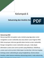 Kelompok 6 Sekuensing Dan Analisis Homologi